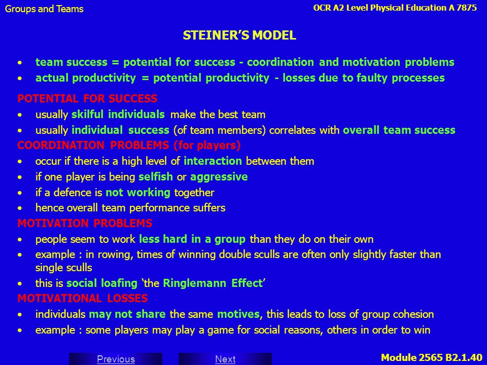Groups and Teams STEINER'S MODEL. team success = potential for success - coordination and motivation problems.