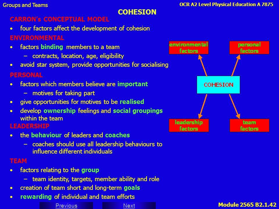 COHESION CARRON's CONCEPTUAL MODEL