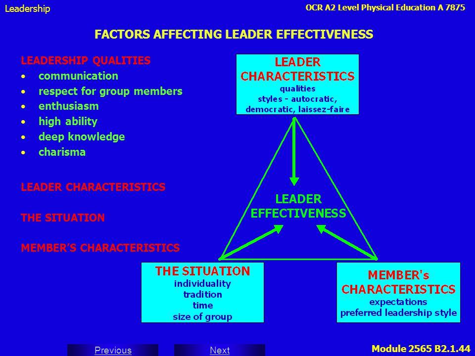 FACTORS AFFECTING LEADER EFFECTIVENESS