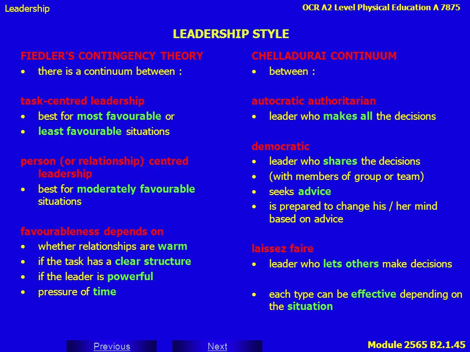 LEADERSHIP STYLE FIEDLER'S CONTINGENCY THEORY