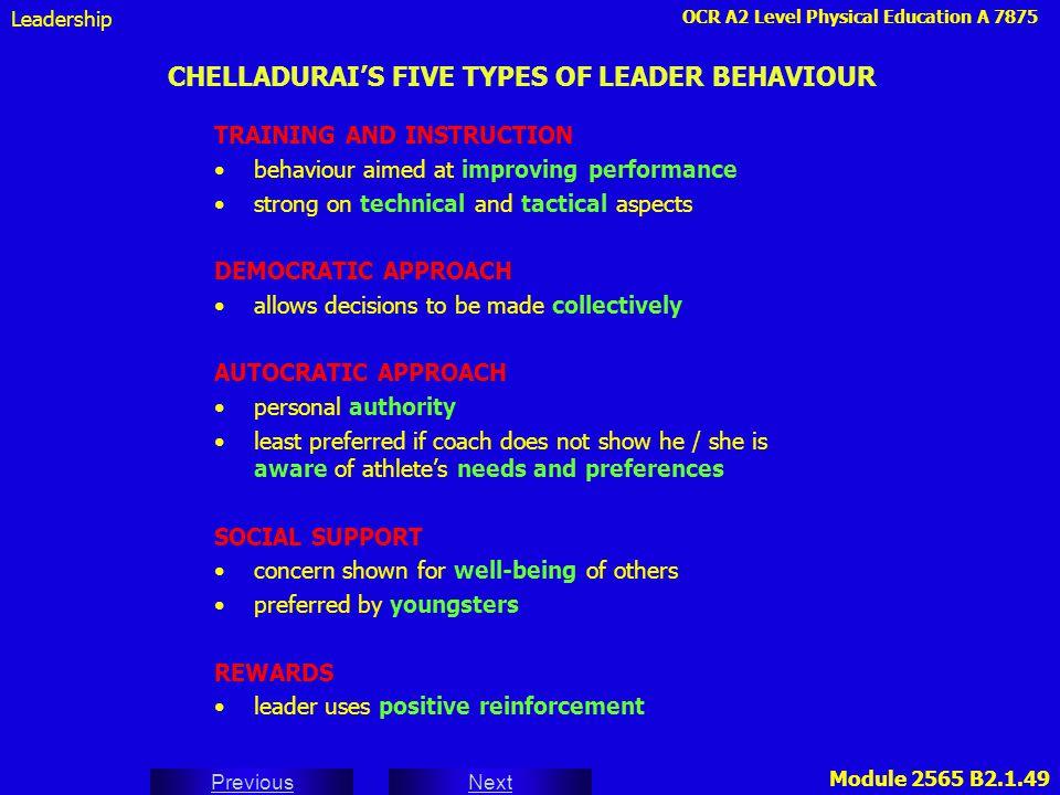 CHELLADURAI'S FIVE TYPES OF LEADER BEHAVIOUR