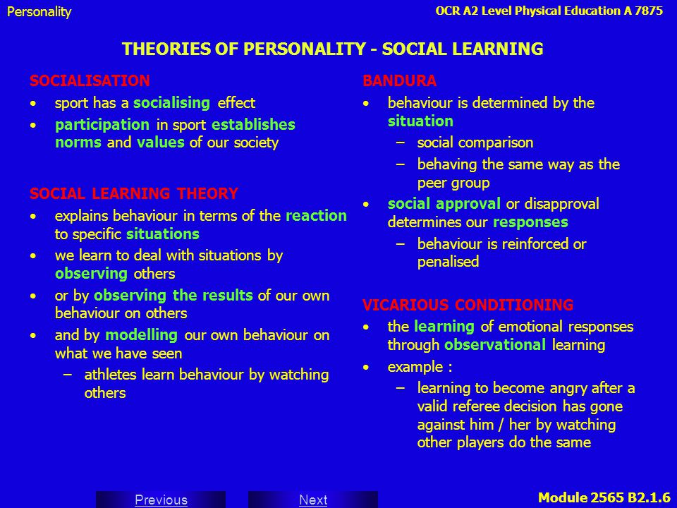 THEORIES OF PERSONALITY - SOCIAL LEARNING