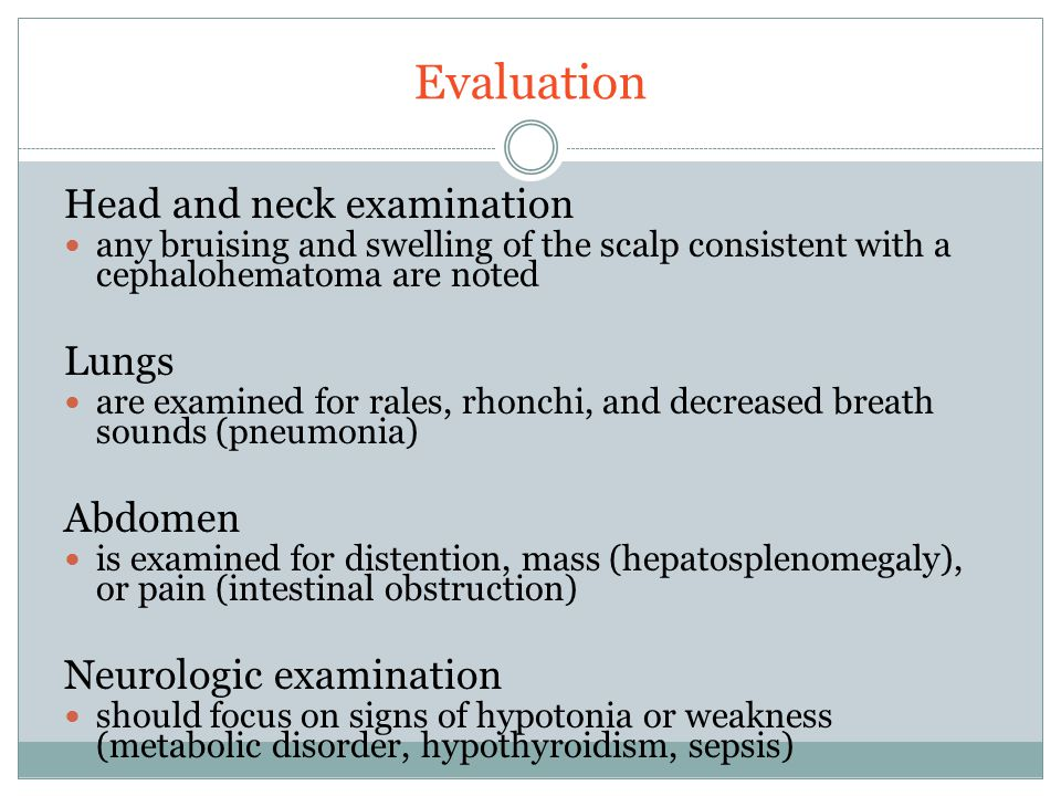 Evaluation Head and neck examination Lungs Abdomen