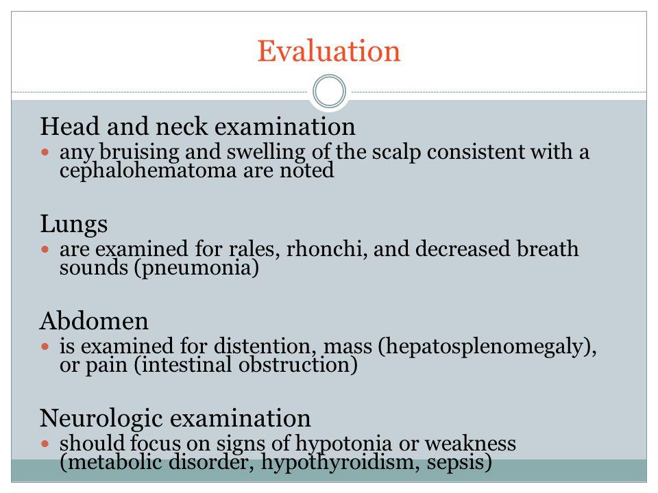 Evaluation Head and neck examination Lungs Abdomen