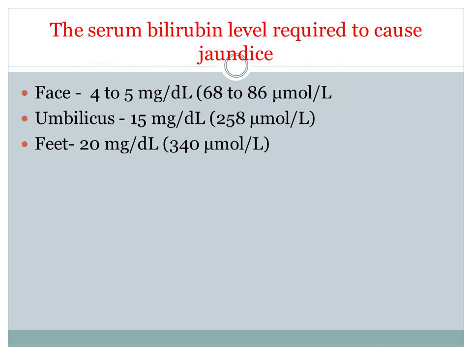 The serum bilirubin level required to cause jaundice