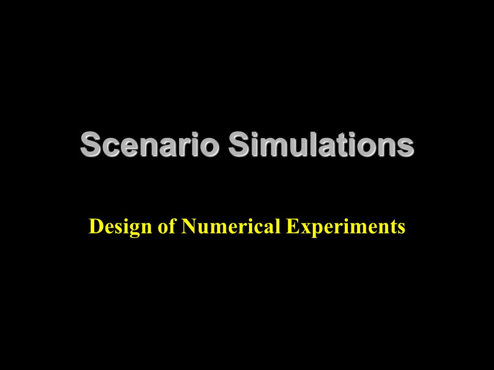 Design of Numerical Experiments