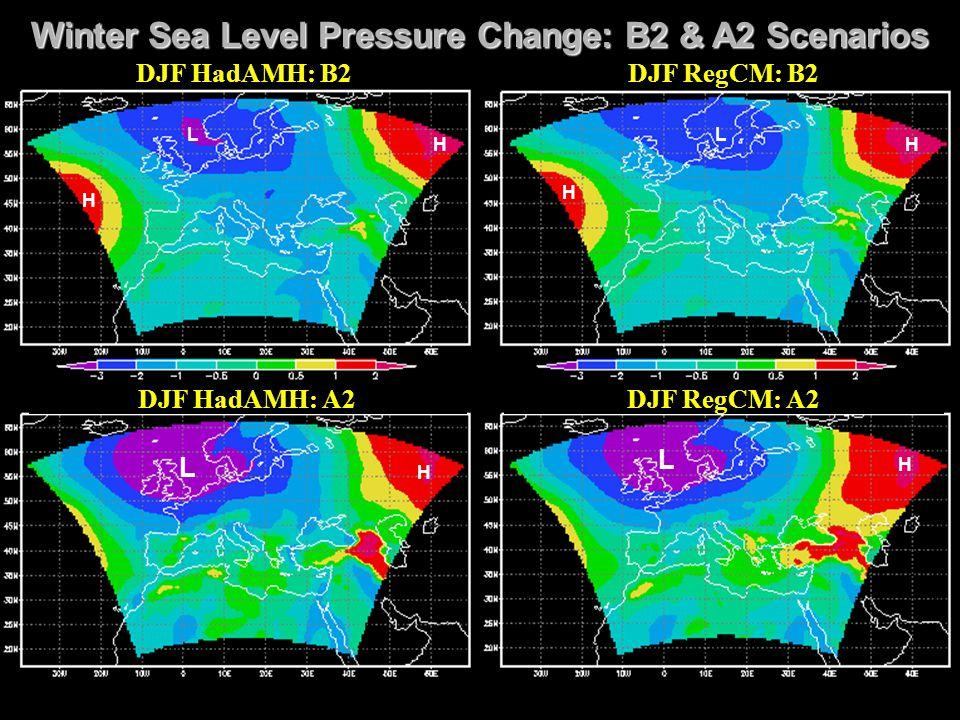 Winter Sea Level Pressure Change: B2 & A2 Scenarios