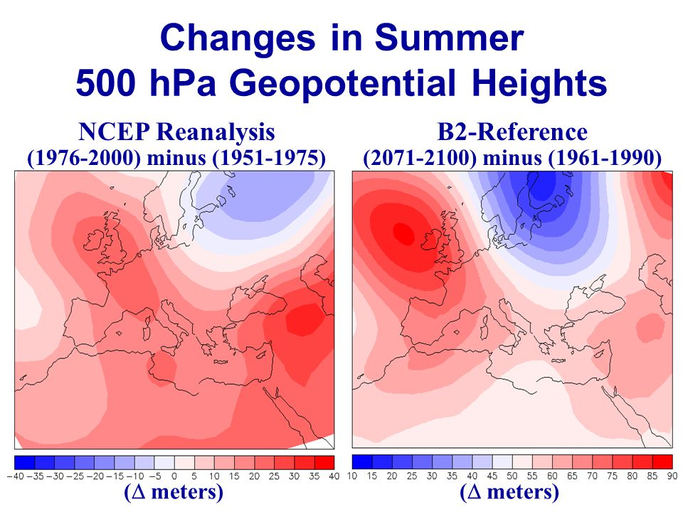 Changes in Summer 500 hPa Geopotential Heights