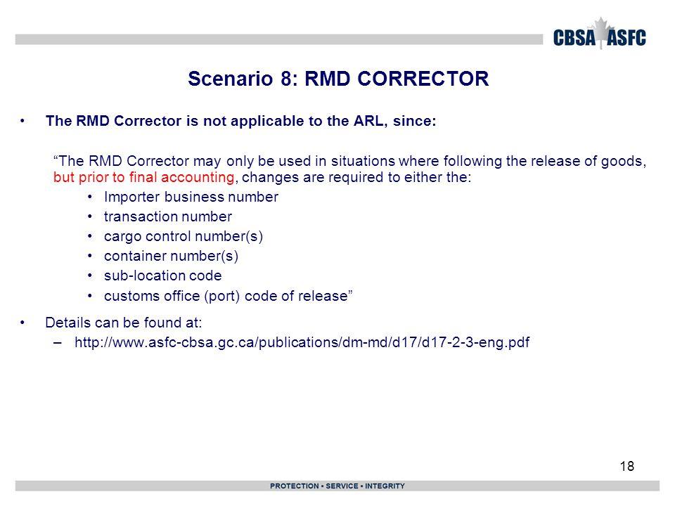 Scenario 8: RMD CORRECTOR