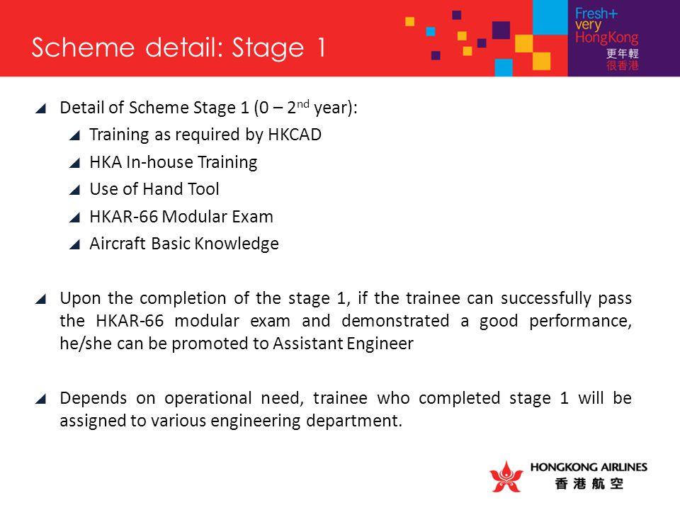 Scheme detail: Stage 1 Detail of Scheme Stage 1 (0 – 2nd year):