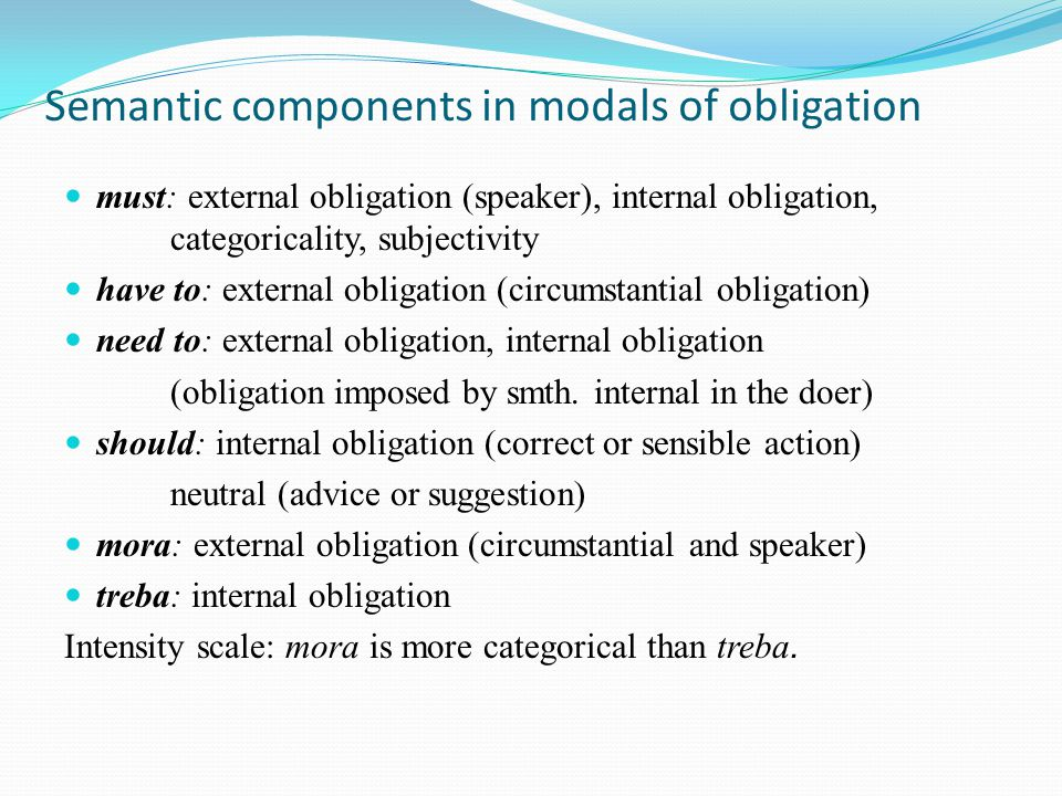 Semantic components in modals of obligation