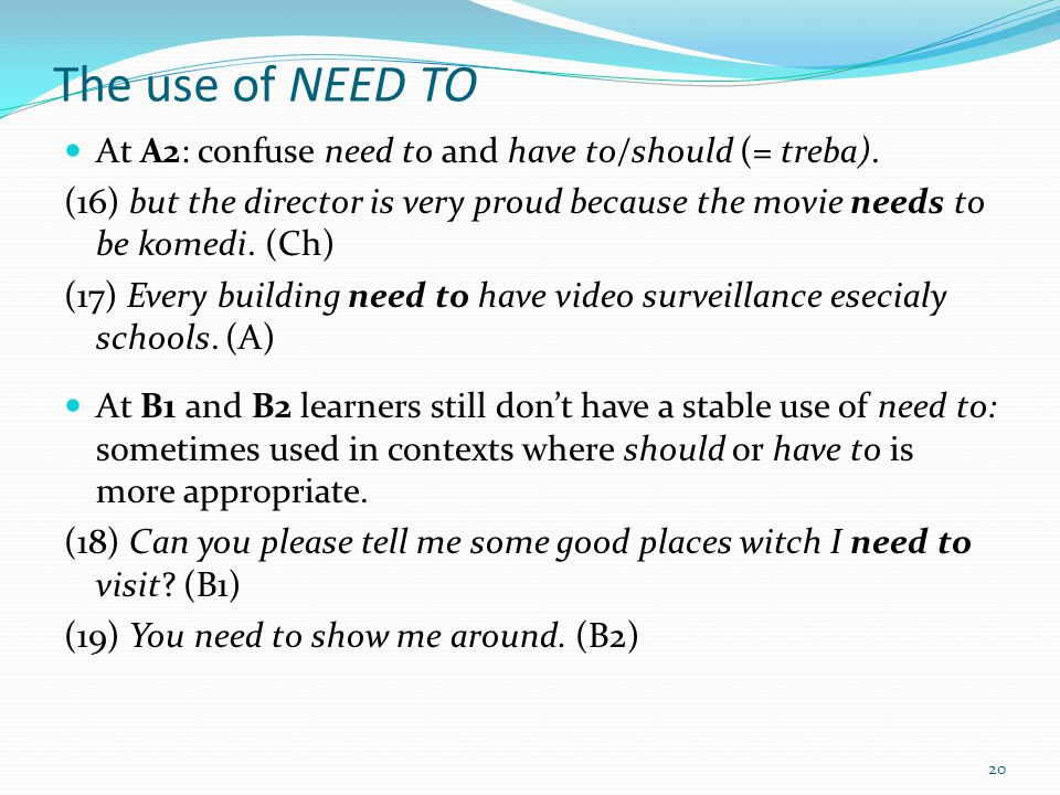 The use of NEED TO At A2: confuse need to and have to/should (= treba).