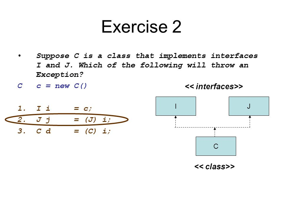 Exercise 2 Suppose C is a class that implements interfaces I and J. Which of the following will throw an Exception