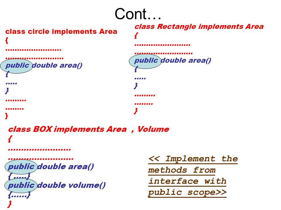 Cont… class Rectangle implements Area. { …………………… ……………………. public double area() ….. } ……… ……..