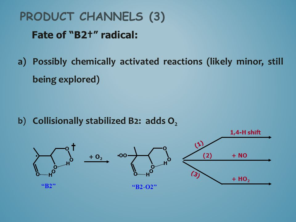 PRODUCT CHANNELS (3) Fate of B2† radical: