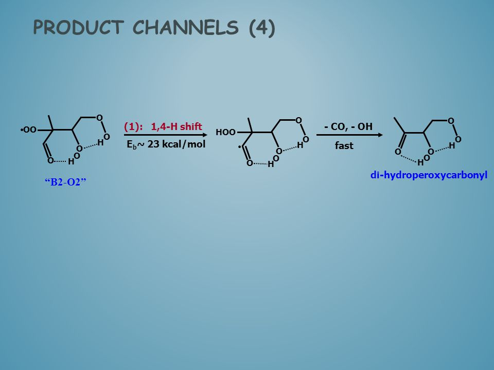 PRODUCT CHANNELS (4) B2-O2 (1): 1,4-H shift - CO, - OH