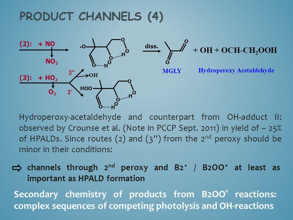 PRODUCT CHANNELS (4) O. O. (2): + NO. O. diss. + OH + OCH-CH2OOH. O. H. O. NO2. O. O. H.