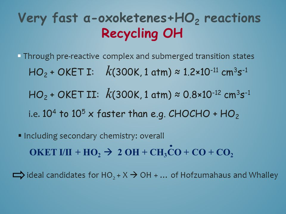 Very fast α-oxoketenes+HO2 reactions Recycling OH