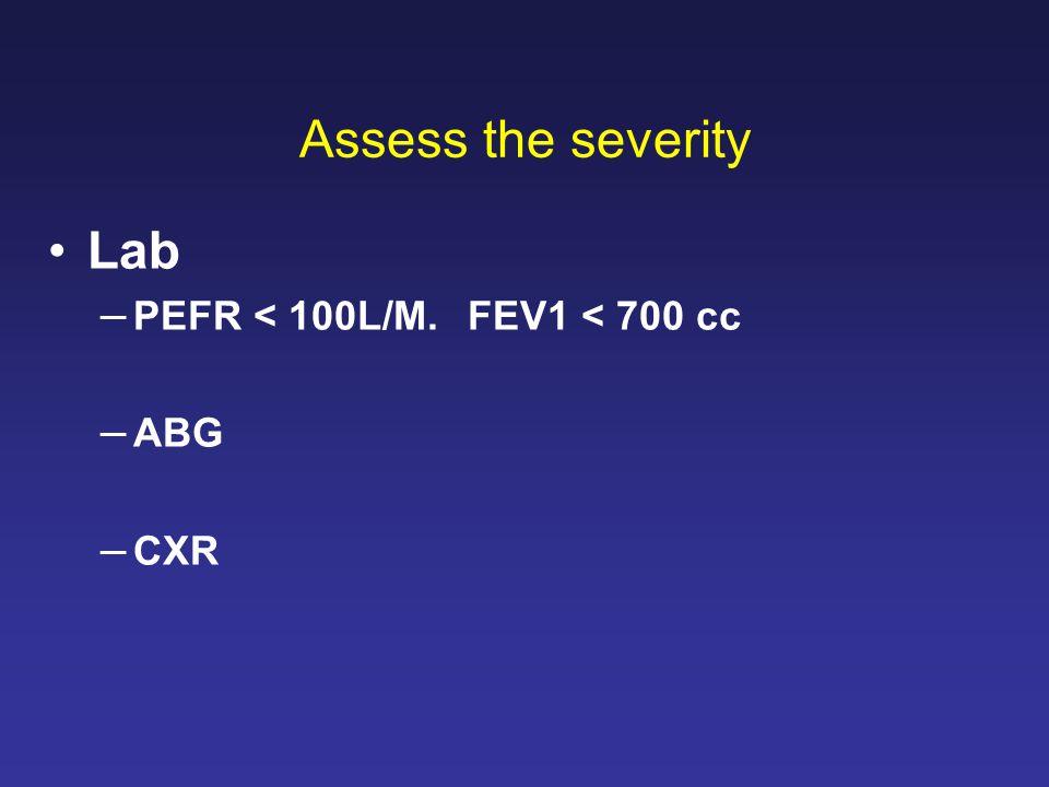 Assess the severity Lab PEFR < 100L/M. FEV1 < 700 cc ABG CXR