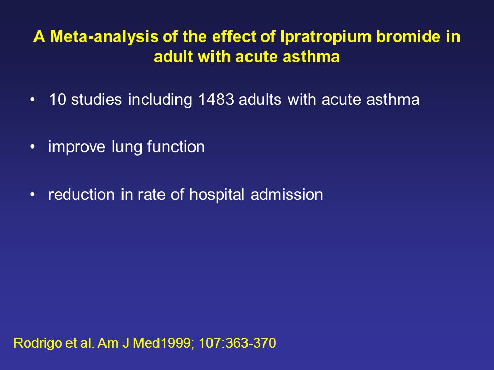 10 studies including 1483 adults with acute asthma