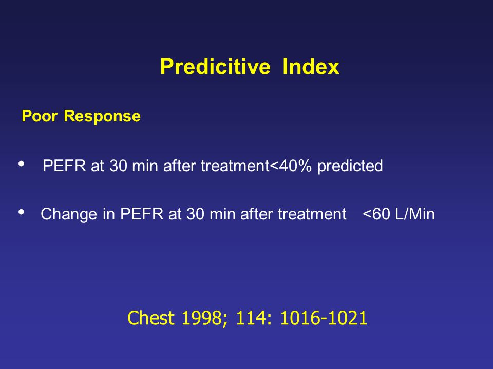 PEFR at 30 min after treatment<40% predicted