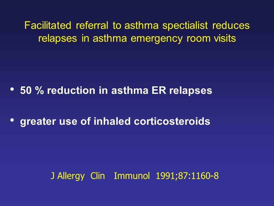 50 % reduction in asthma ER relapses