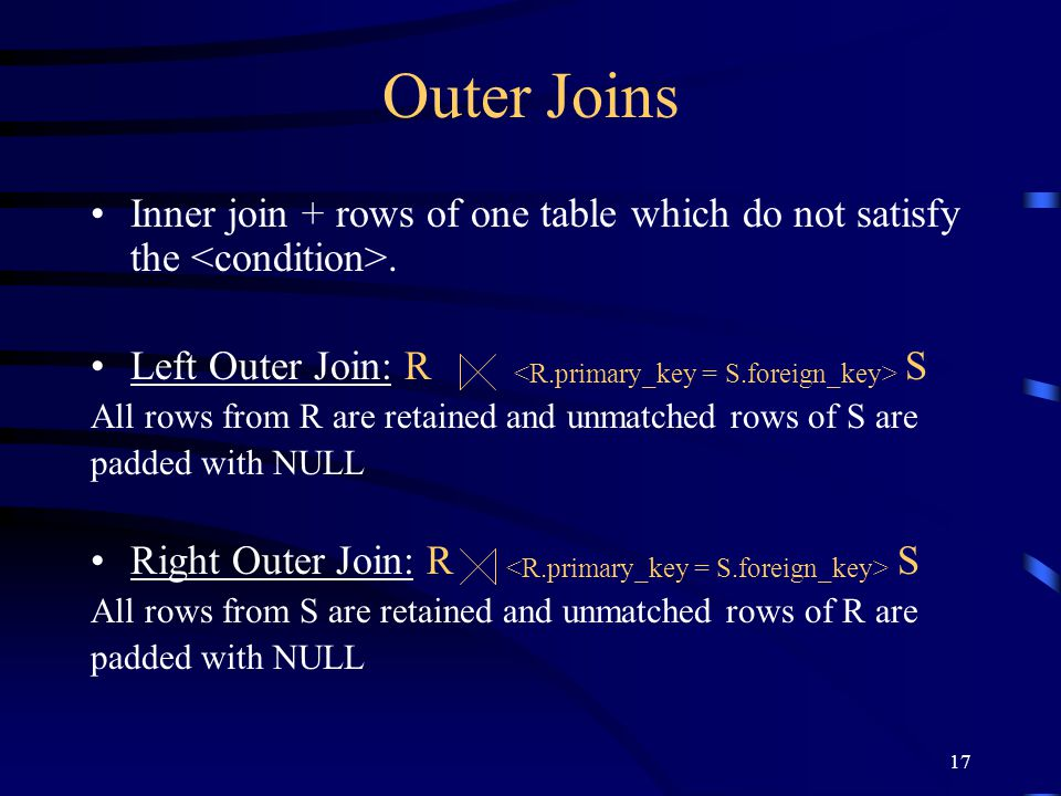 Outer Joins Inner join + rows of one table which do not satisfy the <condition>. Left Outer Join: R <R.primary_key = S.foreign_key> S.