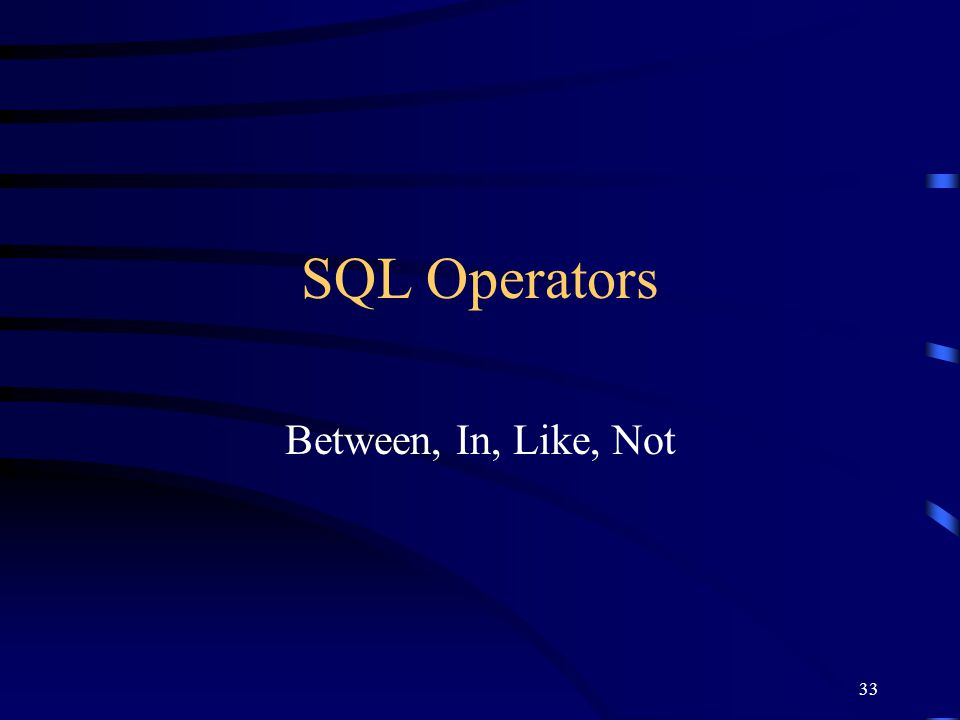 SQL Operators Between, In, Like, Not