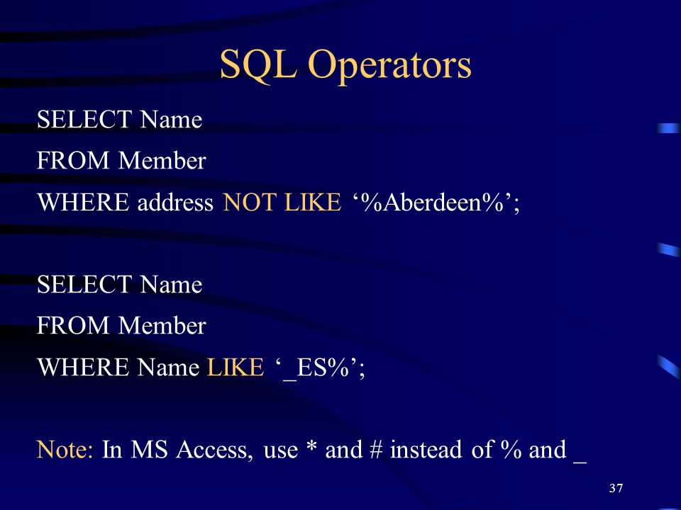 SQL Operators SELECT Name FROM Member