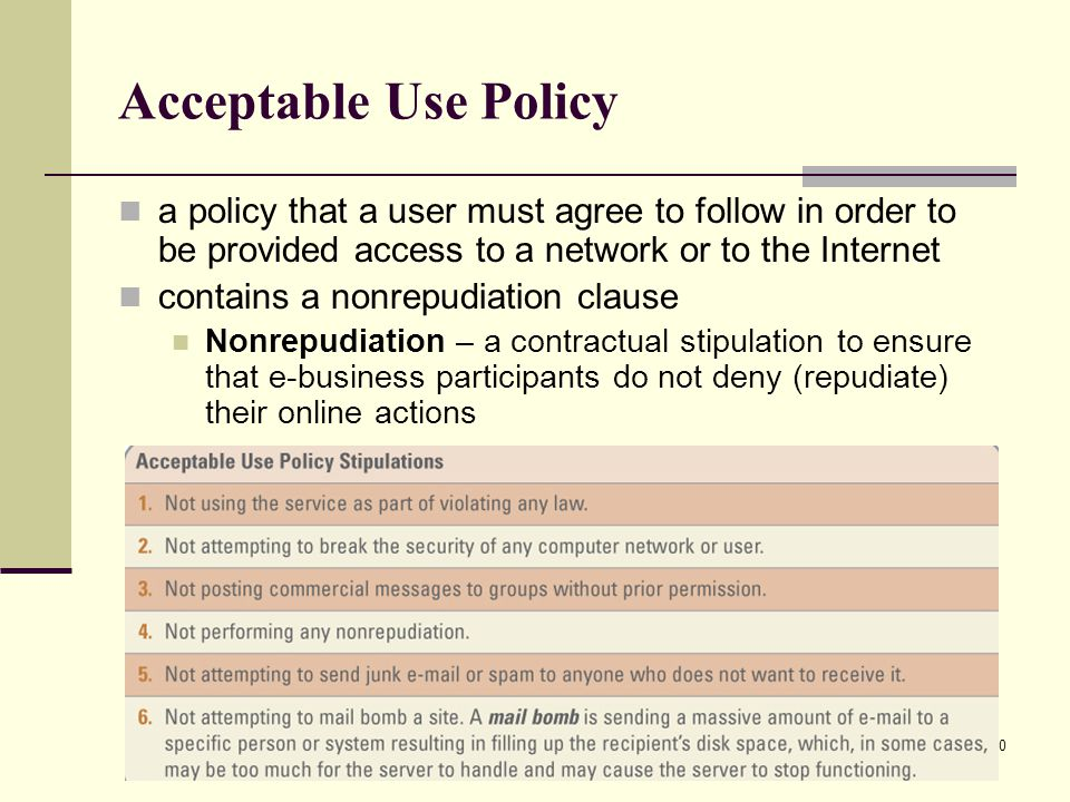 Acceptable Use Policy a policy that a user must agree to follow in order to be provided access to a network or to the Internet.