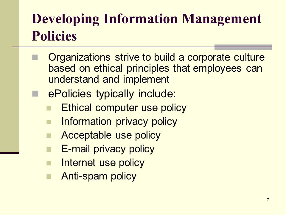 Developing Information Management Policies