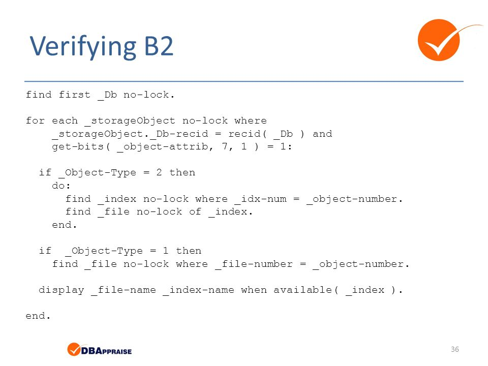 Verifying B2 find first _Db no-lock.
