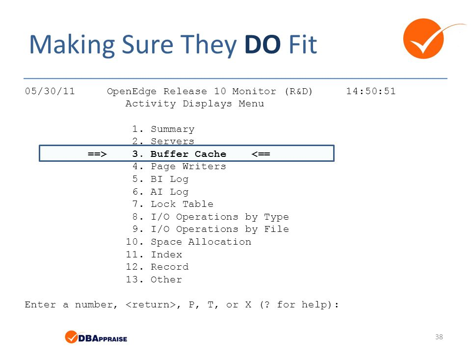 Making Sure They DO Fit 05/30/11 OpenEdge Release 10 Monitor (R&D) 14:50:51. Activity Displays Menu.