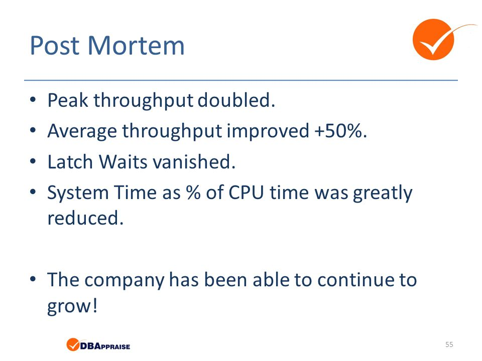 Post Mortem Peak throughput doubled. Average throughput improved +50%.