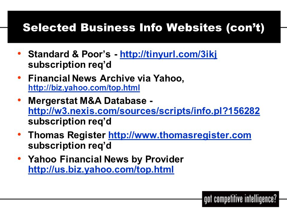 Selected Business Info Websites (con't)