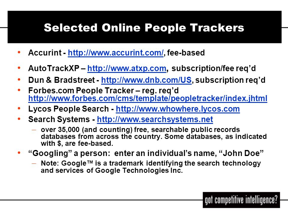Selected Online People Trackers