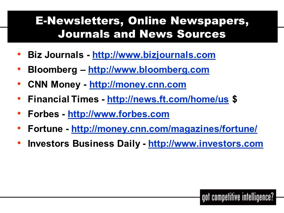 E-Newsletters, Online Newspapers, Journals and News Sources