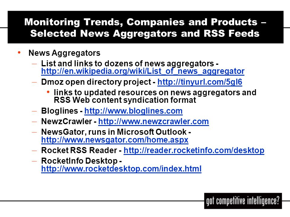 Monitoring Trends, Companies and Products – Selected News Aggregators and RSS Feeds