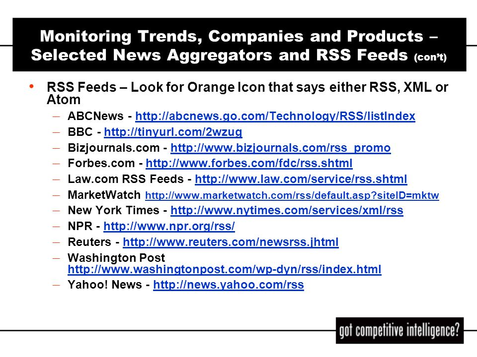 Monitoring Trends, Companies and Products – Selected News Aggregators and RSS Feeds (con't)