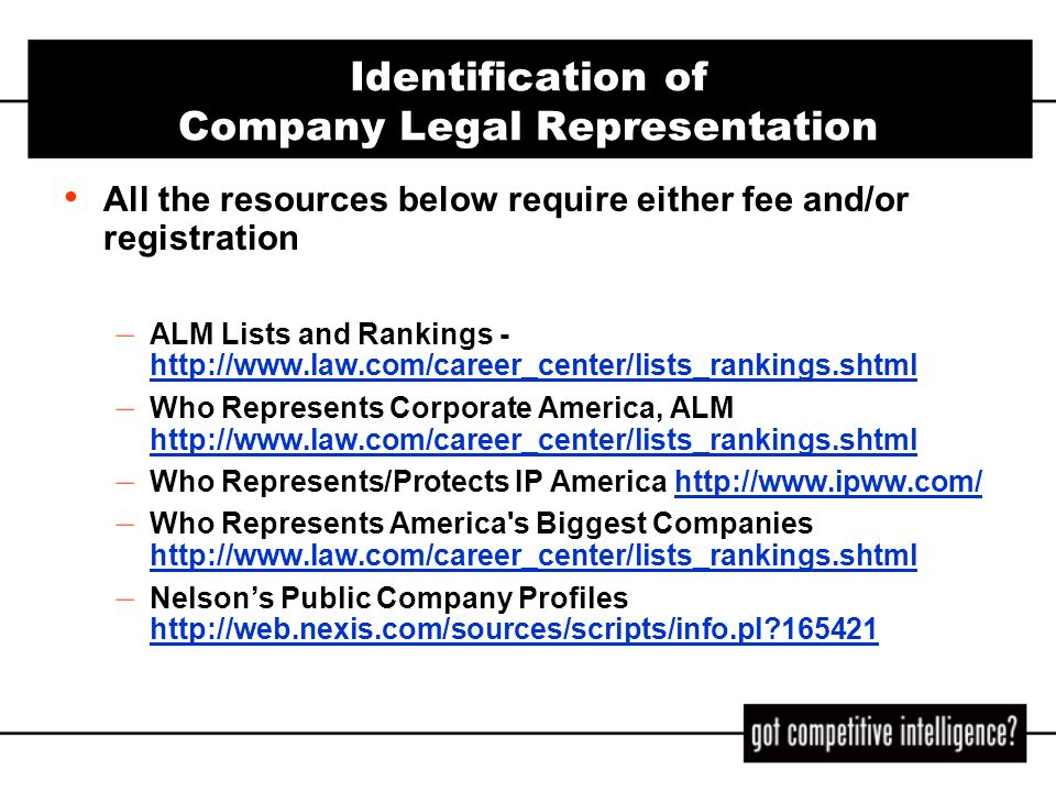 Identification of Company Legal Representation