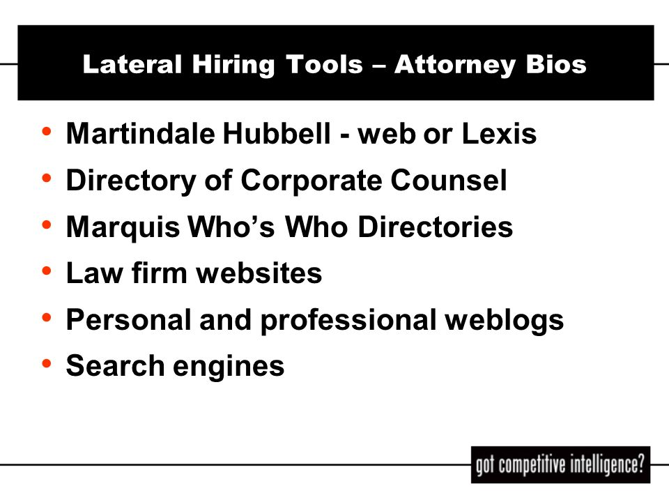 Lateral Hiring Tools – Attorney Bios
