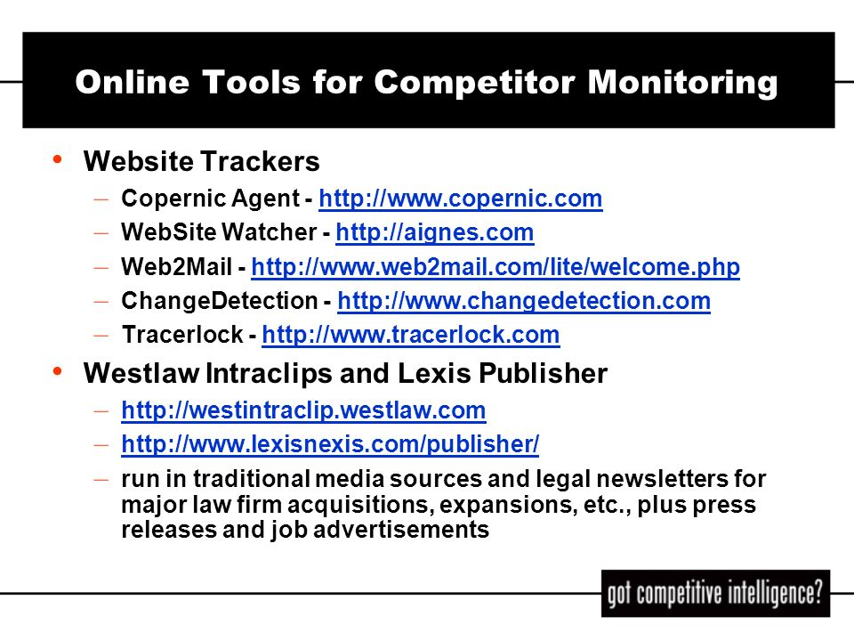 Online Tools for Competitor Monitoring