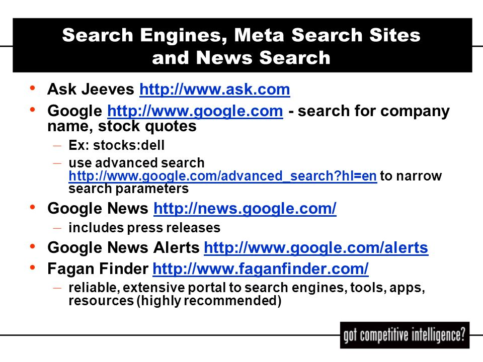Search Engines, Meta Search Sites and News Search