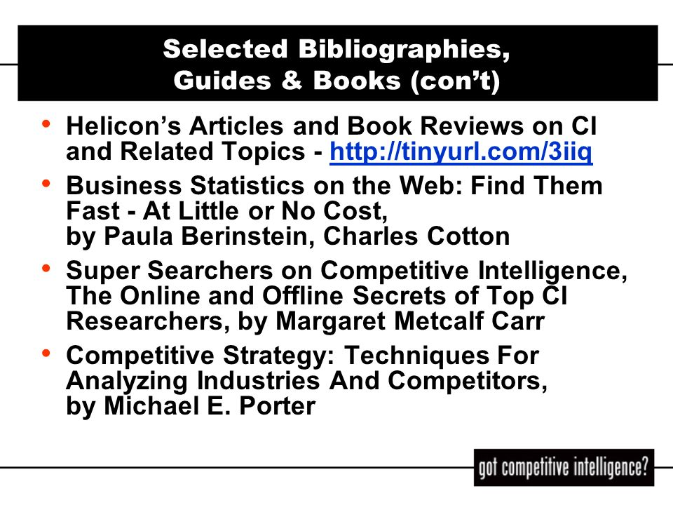 Selected Bibliographies, Guides & Books (con't)