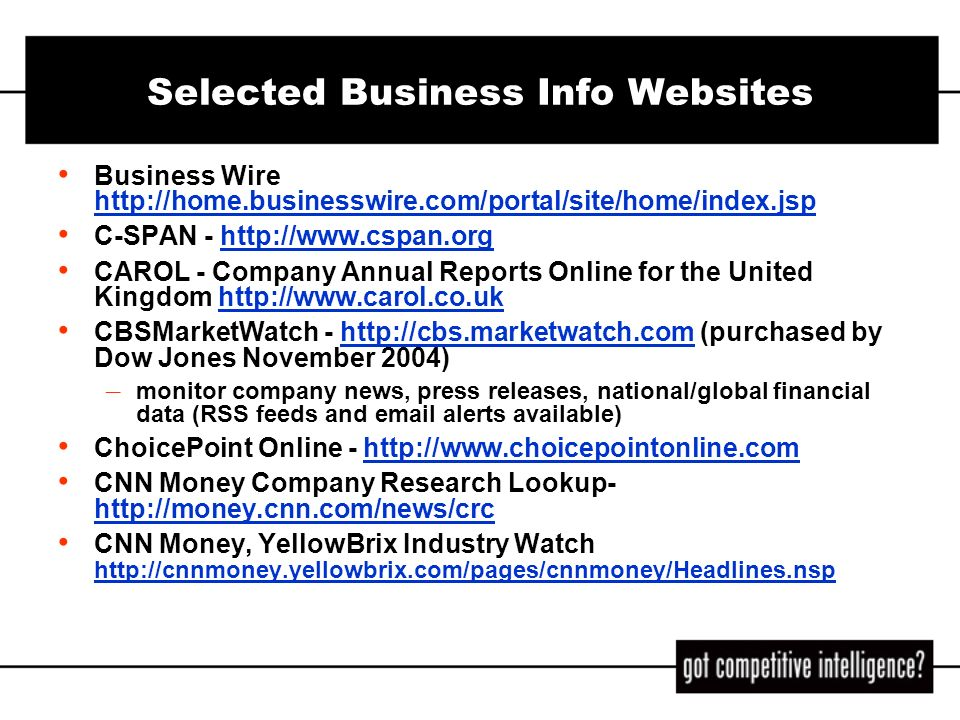 Selected Business Info Websites