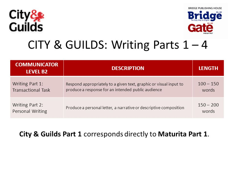 CITY & GUILDS: Writing Parts 1 – 4