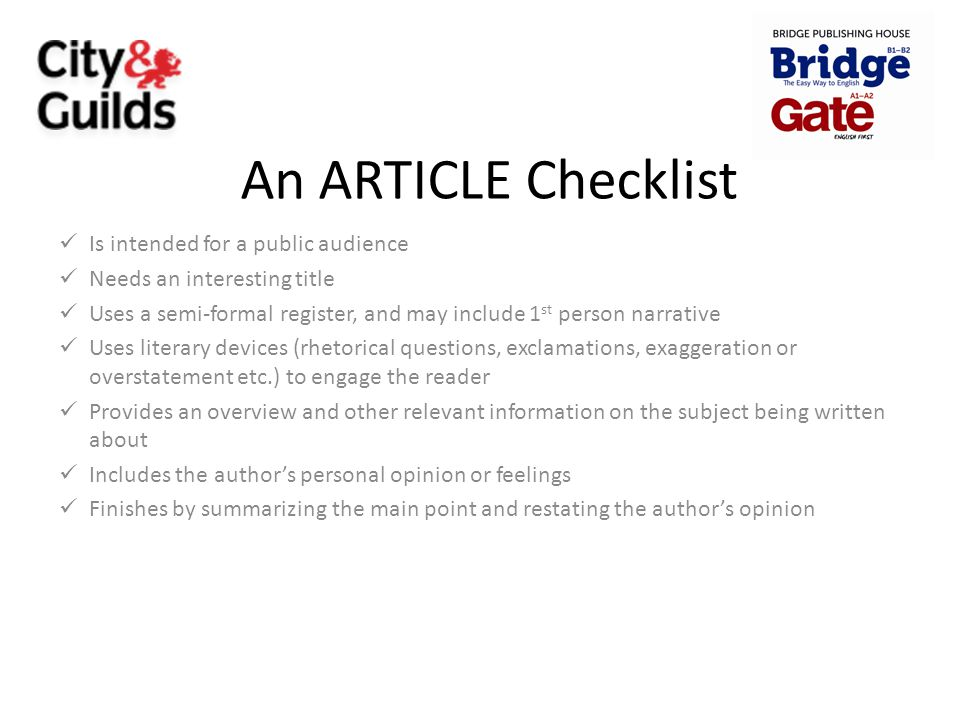 An ARTICLE Checklist Is intended for a public audience