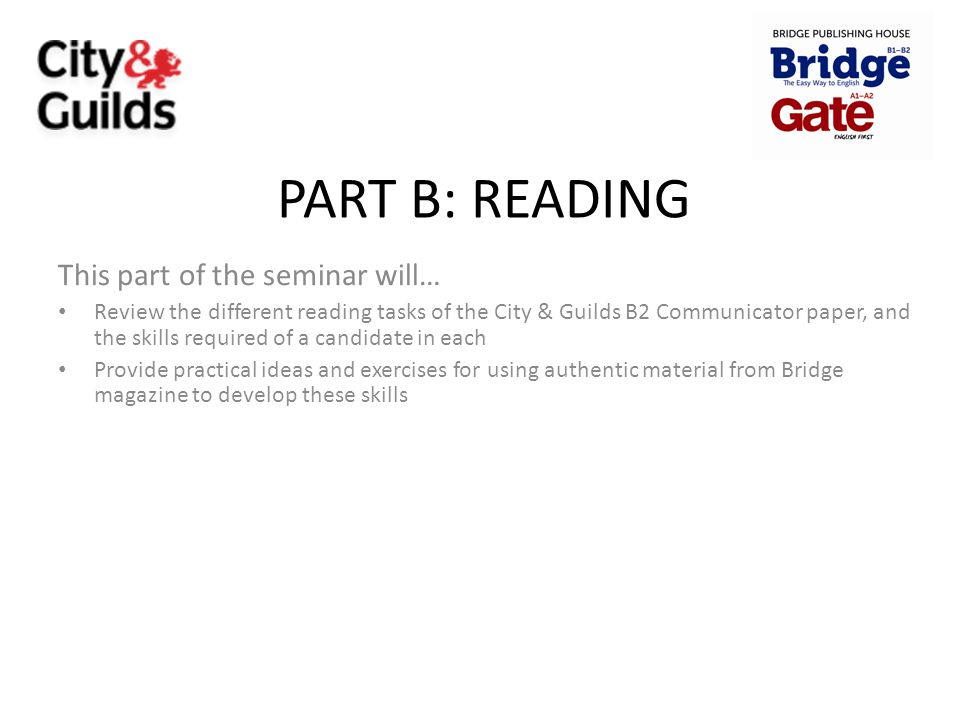 PART B: READING This part of the seminar will…