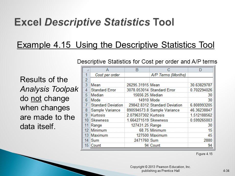Excel Descriptive Statistics Tool