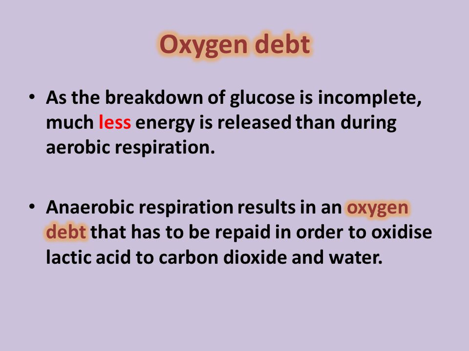 Oxygen debt As the breakdown of glucose is incomplete, much less energy is released than during aerobic respiration.
